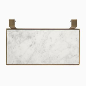 TABL-EAU Tray/Soap Dish in Bianco Carrara Marble and Brass by Silvia Fanticelli for Salvatori