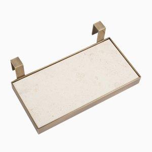 TABL-EAU Tablett/ Seifenschale in Crema d'Orcia Kalkstein und Messing von Silvia Fanticelli für Salvatori