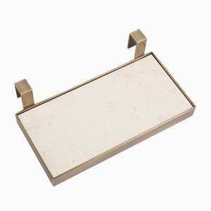 TABL-EAU Tray/Soap Dish in Crema d'Orcia Limestone and Brass by Silvia Fanticelli for Salvatori