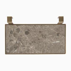 TABL-EAU Tablett/ Seifenschale in Gris du Marais Marmor und Messing von Silvia Fanticelli für Salvatori