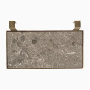 TABL-EAU Tray/Soap Dish in Gris du Marais Marble and Brass by Silvia Fanticelli for Salvatori