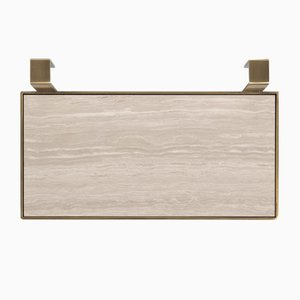 TABL-EAU Tray/Soap Dish in Silk Georgette Limestone and Brass by Silvia Fanticelli for Salvatori
