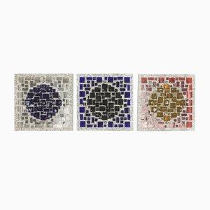 Wandleuchten aus Zement & Glas, 1970er, 3er Set