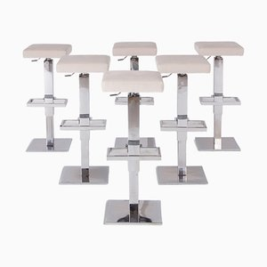 Chromed Steel & White Velvet Adjustable Bar Stools from Maison Jansen, 1970s, Set of 6