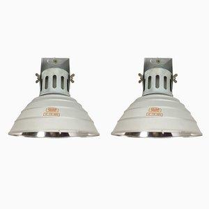 Lámparas de pared alemanas industriales de Zeiss Ikon, años 70. Juego de 2