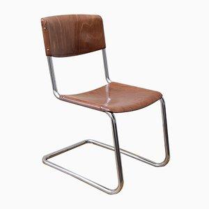 Sedia cantilever in stile Bauhaus cromata di Bremshey & Co., anni '50