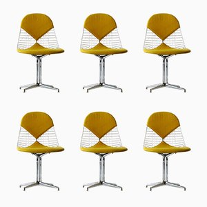 Wire Bikini Side Chairs with La Fonda Bases by Charles & Ray Eames for Herman Miller, 1979, Set of 6