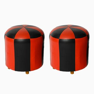 Mid-Century Leatherette Stools, Set of 2