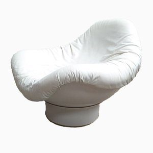 Rodica Chair in White Leather by Mario Brunu for Comfort Italy, 1970s