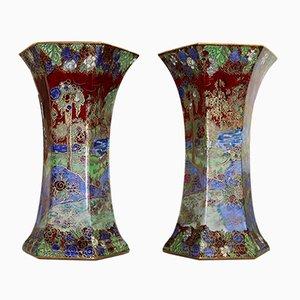 Vasi Art Déco in ceramica a lustro di A. G. Harley Jones per Wilton Ware, anni '20, set di 2