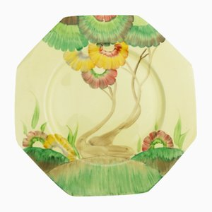 British Art Deco Bizarre Viscaria Plate by Clarice Cliff, 1930s