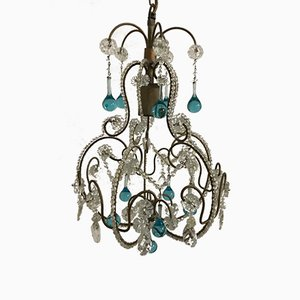 Vintage Italian Glass Beaded Ceiling Lamp with Murano Blue Pendants