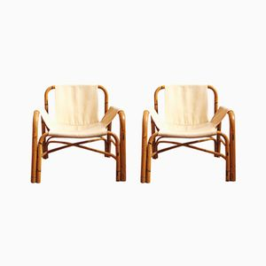 Bamboo Lounge Chairs, 1970s, Set of 2