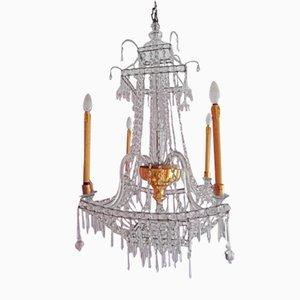 Antiker Kronleuchter aus Kristallglas von Real Fábrica de Cristales de La Granja