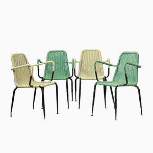 Sedie da giardino in plastica intrecciata, anni '50, set di 4
