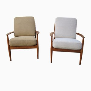 Teak Lounge Chairs by Grete Jalk for France & Søn, 1960s, Set of 2