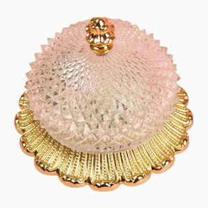 Round Hollywood Regency Sconce in Gold and Crystal from Limburg, 1970s