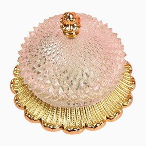 Runde goldene Hollywood Regency Wandlampe aus Kristallglas von Limburg, 1970er