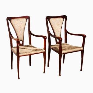 English Art & Craft Armchairs, 1900s, Set of 2