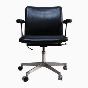 Vintage Swivel Office Chair in Black Leather by Finn Juhl for France & Søn, 1960s