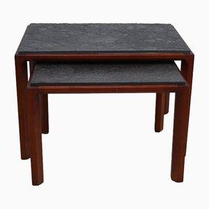 Mesas auxiliares vintage de madera y piedra natural
