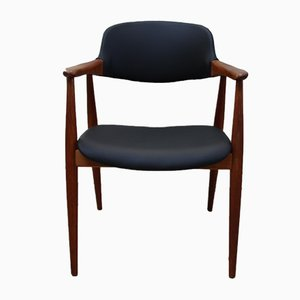Vintage Armchair in Teak and Black Leather from Casala, 1960s
