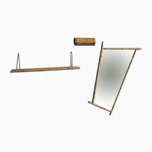 Espejo de pared, repisa y caja plegable alemanes de bambú, años 50
