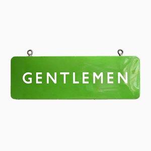Green Enamel Gentlemen Sign by Eric Gill for British Railways, 1940s
