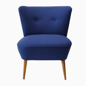 Vintage Cocktailsessel in blauer Wolle