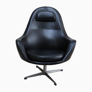 Vintage Swivel Lounge Chair in Black Leatherette from Pastoe, 1960s