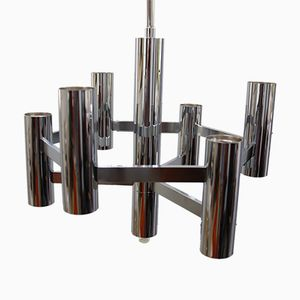Chrome-Plated Steel Chandelier by Gaetano Sciolari, 1970s