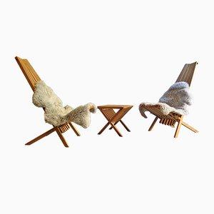 Klappbarer Sessel und Beistelltisch aus Eichenholz von Niels Peter Pontoppidan, 1970er