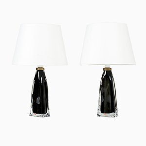 Swedish Glass Table Lamps by Carl Fagerlund for Orrefors, 1950s, Set of 2