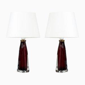 Lámparas de mesa Mid-Century de vidrio de Carl Fagerlund para Orrefors, años 50. Juego de 2