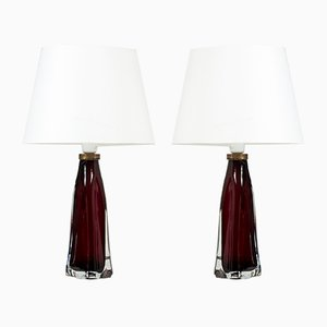 Mid-Century Glass Table Lamps by Carl Fagerlund for Orrefors, 1950s, Set of 2