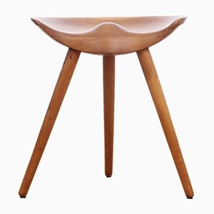 Danish ML42 Tripod Stool in Oak by Mogens Lassen, 1942