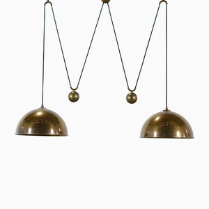 Brass Double Counterweight Pendant Lamp by Florian Schulz, 1970s