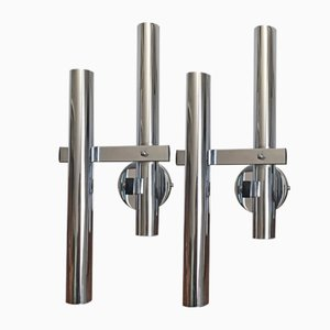 Chromed Metal Tubular Sconces by Gaetano Sciolari, 1970s, Set of 2