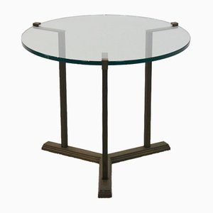Vintage Brass & Glass Side Table by Peter Ghyczy