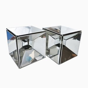 Mirrored Cube Lamps, 1970s, Set of 2