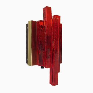 Danish Red Acrylic Brass Sconce by Claus Bolby for CeBo Industri, 1970s