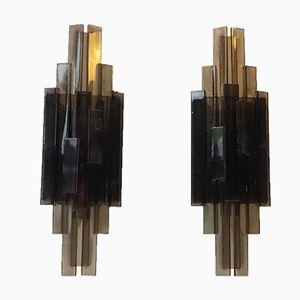 Applique in acrilico grigio di Claus Bolby per CeBo Industri, Danimarca, set di 2