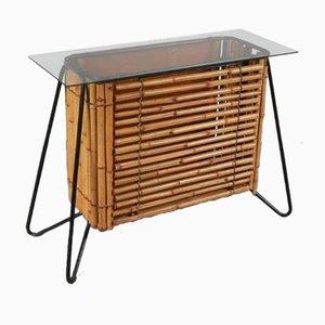 Mueble holandés de ratán, años 50