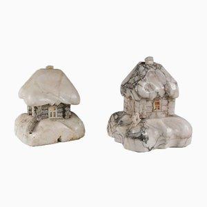 Lampade da tavolo in marmo a forma di casa, anni '30