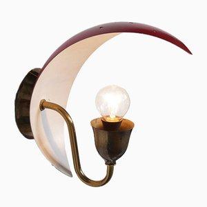 Lampada da parete in metallo e ottone, anni '50