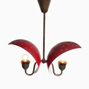 Lámpara colgante de metal y latón, años 50