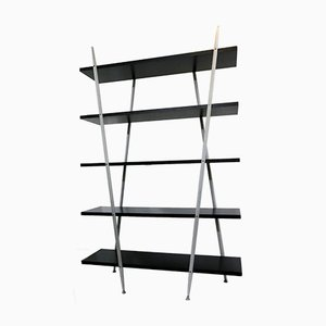 Postmodern Black and Grey Shelving Unit, 1980s