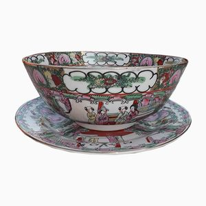 Plato y cuenco para ponche antiguo de porcelana cantonesa