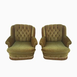 Vintage Gold Velvet Lounge Chairs, Set of 2