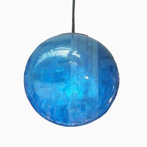 Blaue französische Hängelampe aus Glasfaser, 1970er